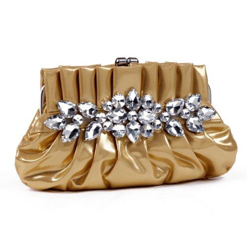 Damara da donna–Grande Cristallo speciale Frizione Borse Gold