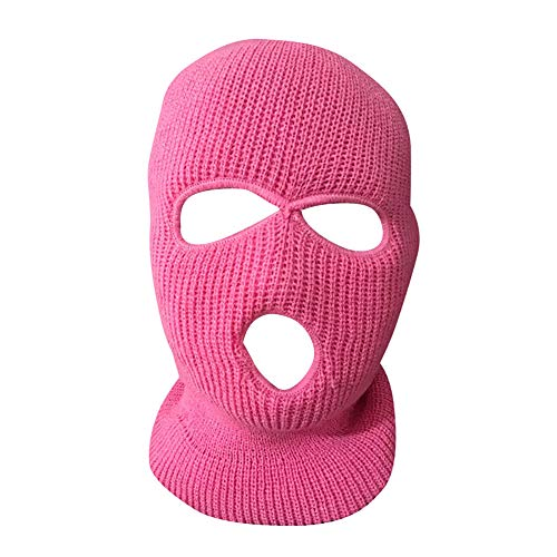 Obrid#e5on Sturmhaube Balaclava Skimaske 3 Loch Maske Multifunktionen Gesichtsmaske Acryl Pink -