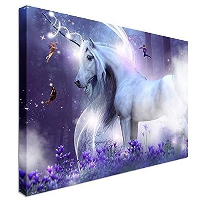 Purple Unicorn Magic Canvas Wall Art Print - high quality, classic style canvas prints, premium wooden frames - Great Value
