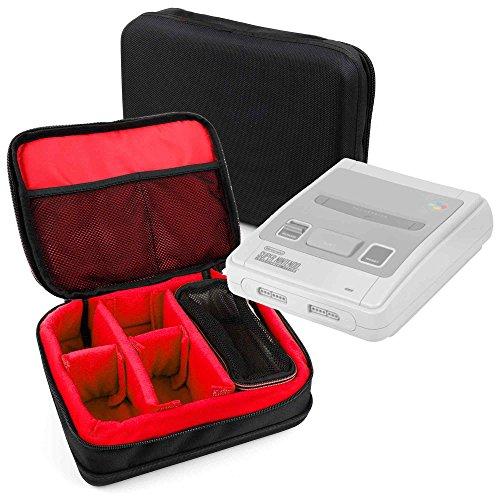 DURAGADGET Bolsa acolchada profesional negra con compartimentos e interior en rojo para Super Nintendo - Consola SUPER NES Classic Mini