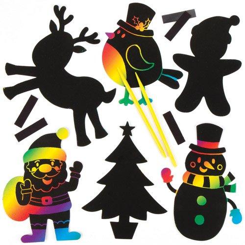 Kratzbild-Magnete Weihnachten für Kinder Zum Basteln, Verzieren und Gestalten – Kreatives Bastelset für Kinder zu Weihnachten (10 Stück)