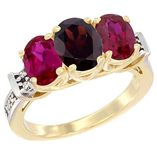 14ct Gelbgold Granat & Enhanced Ruby Seiten Ring Ehering Oval Diamant Accent, Größe L (Ruby Und Garnet Ring)