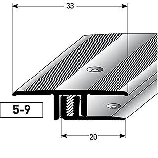 Übergangsprofil Aluminium, 2-teilig - 100cm, 5-9mm (silber) ✓ Rutschhemmend ✓ Kratzfest   Übergangsleiste für Teppich-Boden, Laminat & Parkett   Alu-Übergangsschiene, Bodenprofil zum Schrauben