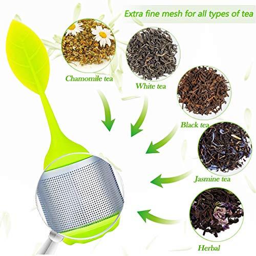 6Stk Extra Feiner Netz Teesieb aus Rostfreiem Edelstahl, Verbesserter Edelstahl Tee-Ei BPA-freiem Teesieb Silikon und Untersetzer Teezubehör, Teeei mit dem Auffangbehälter für Lose Tee (6 Farben)