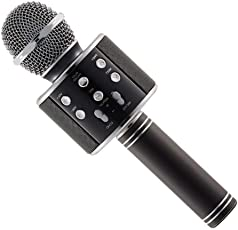 Cellularplatform Metal Wireless WS-858 Bluetooth Microphone Recording Condenser Handheld Stand with Speaker for Cellphone (Multi-Colour)