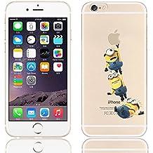 iCHOOSE iPhone 5S Caso / Minions Dibujos Animados Cubierta de Gel para Apple iPhone 5s 5 / Protector de Pantalla y Paño / Volando para 3
