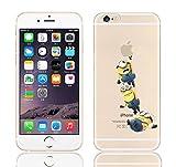 iCHOOSE iPhone 6S Caso / Minions Dibujos Animados Cubierta de Gel para Apple iPhone 6s 6 / Protector de Pantalla y Paño / Volando para 3