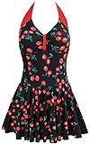 TDOLAH Damen Retro Vintage Einteiliger Badekleid V Ausschnitt Badeanzug mit Röckchen (2XL (EU 40-42), Berry-3)