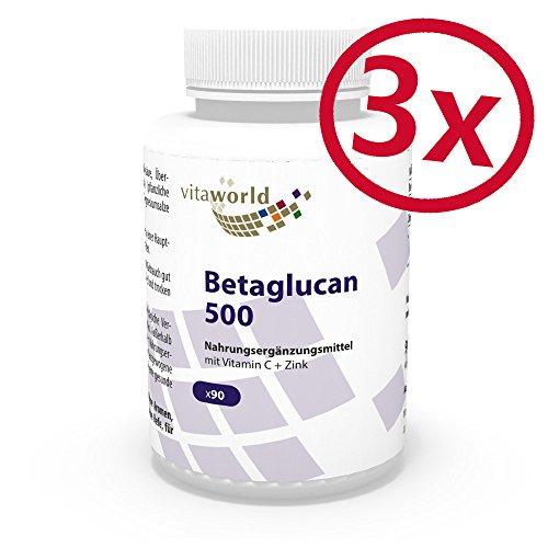 3er Pack Vita World Betaglucan 500mg (75% Polysacchardide) 270 Kapseln Apotheken Herstellung Beta Glucan (1/3,1/6)-Beta-D-Glucan Komplex