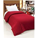 The Home Talk Single Bed Polar Fleece Ac Blanket, Light Throw Blanket for Tv Room Warm Soft bedsheet, Size 140 x 200 cm, GSM: 140, Weight 500 gm- Maroon