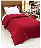 Maroon Color The Home Talk 1 pc polar fleece blanket for light winters, 500 gm, single bed- Maroon