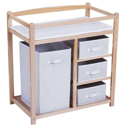 Infantastic - Table à langer en bois - 1 grande boîte - 3 petits tiroirs - avec coussin à langer en mouss