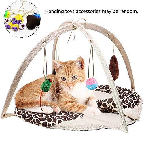 Cat Play Mat Bed Padded Bed Kitten Play Mat Mit 4 Hängenden Spielzeug Bell Balls Crinkle Cat Toys -