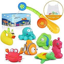 Lehoo Castle Badespielzeug Baby ab 1 Jahr, Badewanne Spielzeug mit Bad Spielzeug Organizer, Wasserspiel Entchen Angeln Schwimmenden Fisch Badespielzeug , 9pcs Ozean Tier Wasserspielzeug Kinder