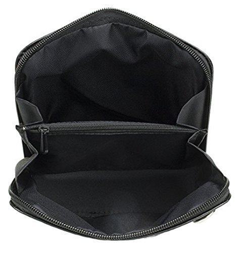 H&G Vera Pelle Trapez förmigen Mini italienischen Echtleder-Cross-Body-Tasche Handtasche (Camel) Black