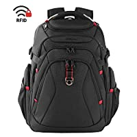 KROSER Travel Laptop Backpack 17.3 Inch XL Heavy Duty Computer Backpack with Hard Shelled Saferoom RFID Pockets Water-Repellent Business College Daypack Stylish School Laptop Bag for Men/Women-Black
