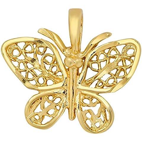 Filigrana, placcato in oro da donna con ciondolo a forma di farfalla