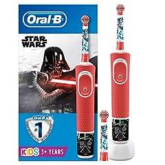 Idea Regalo - Oral-B Kids Spazzolino Elettrico Ricaricabile, 1 Manico con Personaggi di Star Wars, 2 Testine di Ricambio, per Età da 3 Anni