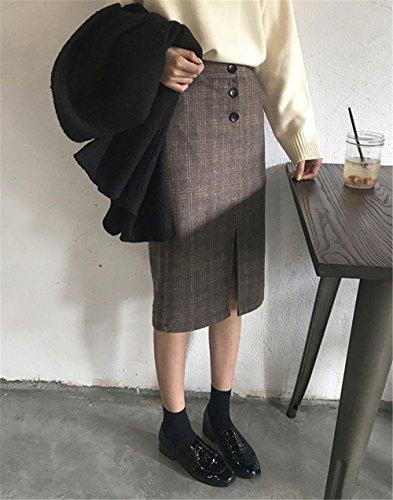JOTHIN 2017 Donna Autunno Inverno Pulsanti Vita alta Gonne Hem Cracking Lana a quadri Eleganti Skirt Strette Vintage Classica Formale e business Peplum Kilt. Marrone