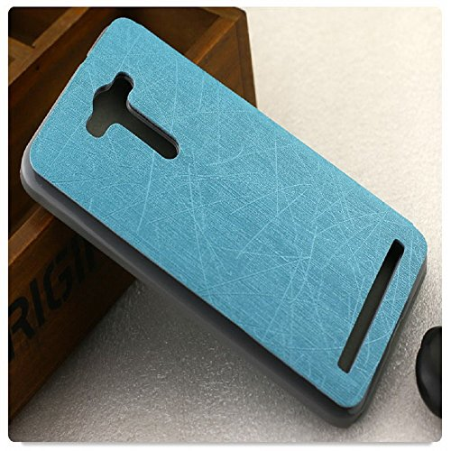 Heartly Premium Luxury PU Leather Flip Stand Back Case Cover For Asus Zenfone 2 Laser ZE550KL ZE551KL ( 5.5 inch ) – Power Blue