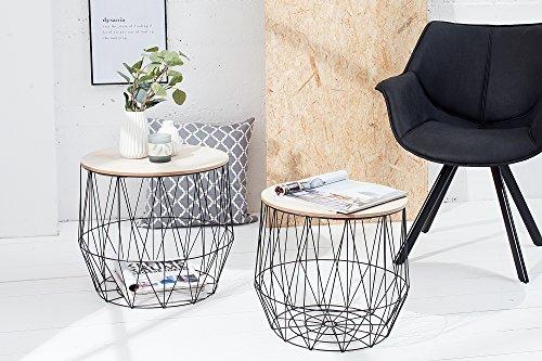 DuNord Design Beistelltisch Korb Metall rund 2er Set Couchtisch AREZZO schwarz Eiche Tisch Ablage -