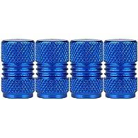 SENZEAL 4 x francés estilo bicicleta neumático tapas de válvulas de aleación de aluminio redondo diseño azul