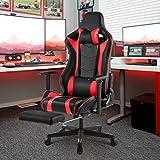 LANGRIA Gaming Chair Schreibtischstuhl Gaming Stuhl Kunstleder Racing Chefsessel Sportsitz mit Wippkunktion, Höhenverstellbar (Schwarz und Rot) - 9