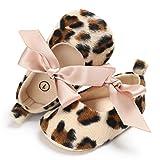 Kavitoz Baby Toddler Girls Cute Leopard Print Crib Shoes Soft Prewalker Soft Sole Anti-Slip Shoes (0-6M, Khaki)