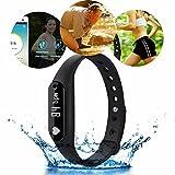 Goldfox® C6 Schrittzähler Aktivitätstracker Bluetooth 4.0 Smartwatch Pulsuhren wasserdicht Armbanduhren Herzfrequenzmonitor Kalorienverbrauch Sport Fitness Running (Schwarz)