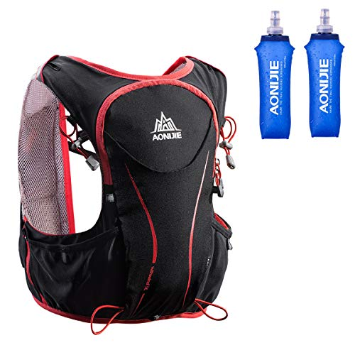Azarxis - Mochila de Hidratación Trail Running 5L Ligera Chaleco Ciclismo con Botella de Agua para Senderismo Escalada Corriente (con 2 * 500ml Botella Blanda, S/M - 80-97 cm)