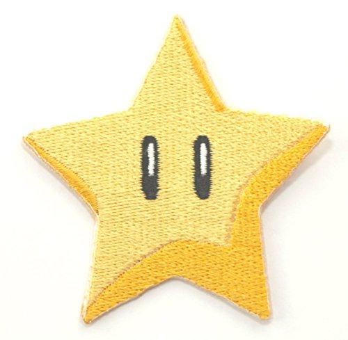 (Gold Star Patch Power Up gesticktes Eisen auf Abzeichen Aufnäher Kostüm Cosplay Mario Kart/SNES/Mario World/Super Mario Brothers/Mario Allstars)