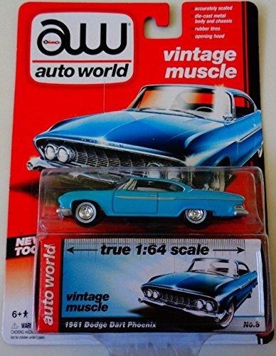 Auto World 1:64 Vintage Muscle 1961 Dodge Dart Phoenix Teal No. 5 by Auto World -