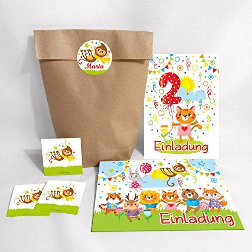 JuNa-Experten 12-er Set Einladungskarten, Umschläge, Tüten, Aufkleber zum 2. Kindergeburtstag für Mädchen Süße Katze (12 Karten + 12 Umschläge + 12 Party-Tüten (Kreuzbodenbeutel) + 12 Aufkleber)