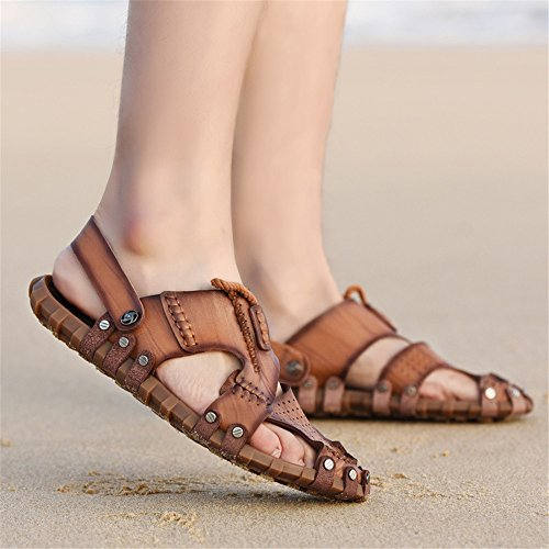 Shaoeo Chaussons De Mode Sandales En Cuir D'Été Occasionnels Chaussons Mode D'Usure Antidérapante Des Hommes Dark Brown