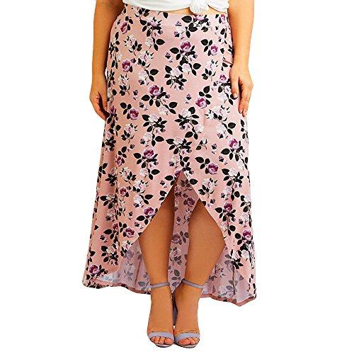 93c6aa593272 35% de Descuento Mujeres Cintura Alta Tallas Grandes Estampado Floral  Cintura Hendidura Falda Larga Falda Sexy Bohe