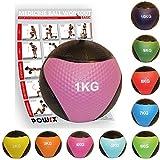 POWRX - Palla Medica 1 kg, 2 kg, 3 kg, 4 kg, 5 kg, 6 kg, 7 kg, 8 kg, 9 kg, 10 kg - Perfetta per la tonificazione ed Il potenziamento Muscolare + PDF Workout con 20 Esercizi (1 kg/Rosa)