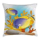 Ocean Throw Pillow Cushion Cover, Sealife Marine Navy Cartoon Design Exotic Wild Tiny Aquarium Fish Art, Decorative Square Accent Pillow Case, 18 X18 Inches, Aqua Blue and Mari Gold