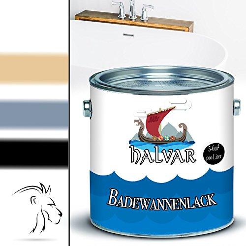 Halvar 2K Badewannenbeschichtung skandinavischer Badewannenlack für Keramik, Emaille, Acryl, Fliesen, Badewanne, Porzellan, Stahl (kein Edelstahl), Fliesen, Kunststoff, GFK hochwertiger Schutz! (2,5 kg, Grau)