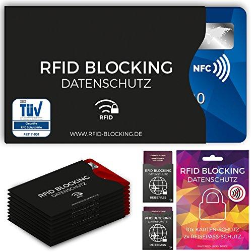 TÜV geprüfte RFID Blocking NFC Schutzhüllen (12 Stück) für Kreditkarte, Personalausweis, EC-Karte, Reisepass, Bankkarte, Ausweis - 100% Schutz gegen unerlaubtes Auslesen - Kreditkarten RFID Blocker (Handtasche Zubehör)