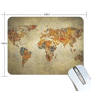 ZZKKO – Alfombrilla de goma antideslizante para ratón, diseño retro vintage de mapa del mundo, 22,86 cm x 19,05 cm x 1,27 cm