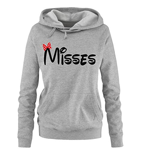 *Comedy Shirts – MISSES – Comic – Damen Hoodie – Grau / Schwarz-Rot Gr. XL*