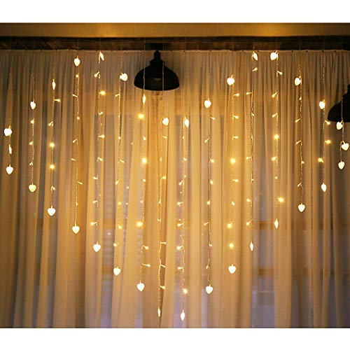 LED Lichtervorhang, warmweißes Herzform hängende Lichterketten, 2x1.5m IP44 Lichtervorhang Stromversorgung durch Batterien oder USB für Party Schlafzimmer