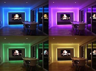 LED-Streifen-Set, LED Strip 10M RGB Licht Beleuchtung mit 300 LEDs, Komplettsets inkl Fernbedienung, Eckverbinder, Verbindungskabel, Dimmbar Selbstklebend für Innen Heim Küche Kinderzimmer Dekoration von Alligo