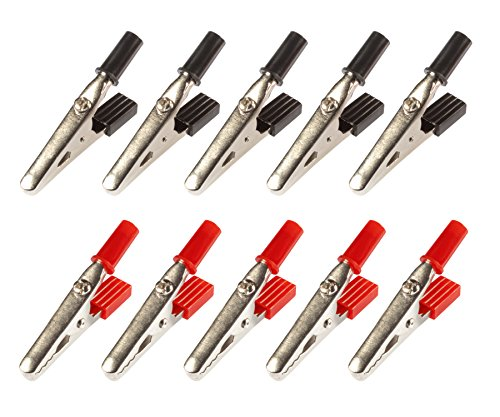Poppstar 10x 50 mm Krokodilklemme, aus Metall mit Kunststoffgriff (schwarz - rot), für das Verbinden von Kabeln (elektrischen Leitern)