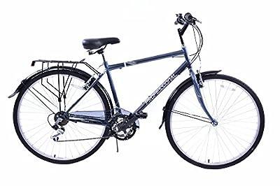 "Professional Regent 700c Wheel Upright Position Mens 18 Speed Hybrid City Bike Grey 23"" Frame With Mudguards & Carrier"