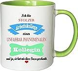 Mister Merchandise Becher Tasse Stolzer Arbeitskollege Einer unfassbar phänomenalen Kollegin Kaffee Kaffeetasse liebevoll Bedruckt Traumhaft Wahnsinnig fantatsisch Weiß-Grün