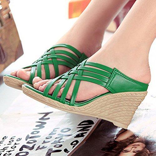 YOUJIA Femmes Élégant Chaussures Compensées Peep Toe Pantoufles Chaussures de Gladiateur Vert