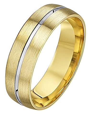 Theia His & Hers 14ct Yellow and White Gold Two-Tone 6mm Wedding Ring - Size T