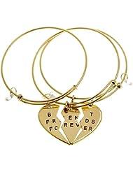 """ISHOW Dos mitad Corazón Cubic Zircon Oro Tono Colgante """"Best Friends Forever pulseras de puño ajustable pulsera (Gold 1)"""