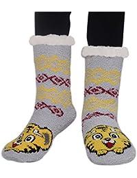 Amkun Womens Super Soft Cute Knit Cartoon Animal fuzzy Cozy Non-Slip Winter Slipper Socks